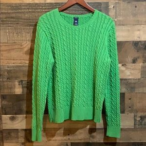 GAP Bright Green Cable Knit Crew Neck Sweater
